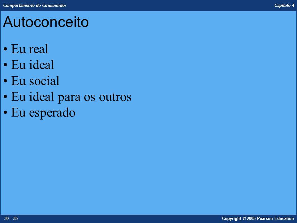 Comportamento do Consumidor Capítulo 4 30 – 35Copyright © 2005 Pearson Education Eu real Eu ideal Eu social Eu ideal para os outros Eu esperado Autoco