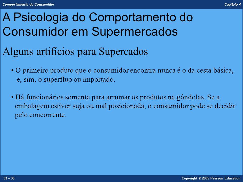 Comportamento do Consumidor Capítulo 4 33 – 35Copyright © 2005 Pearson Education O primeiro produto que o consumidor encontra nunca é o da cesta básic