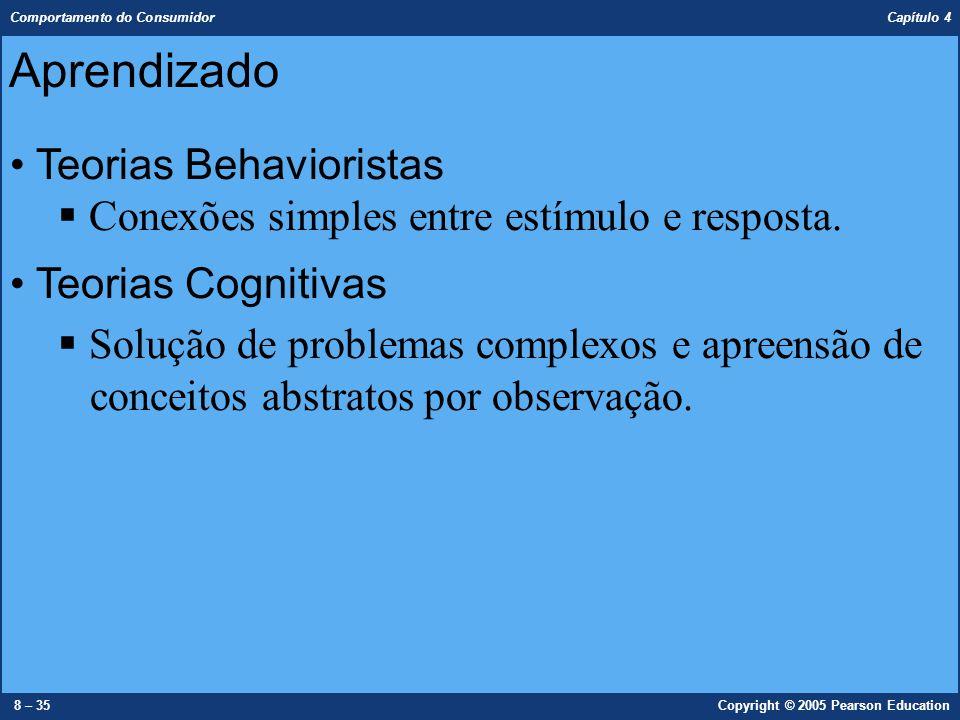 Comportamento do Consumidor Capítulo 4 9 – 35Copyright © 2005 Pearson Education Teoria do condicionamento clássico (estímulos/respostas)  Reforço – premiação  Extinção – frustação Teoria do condicionamento operante (instrumental)  Reforço positivo/reforço negativo Teorias Behavioristas Aprendizado