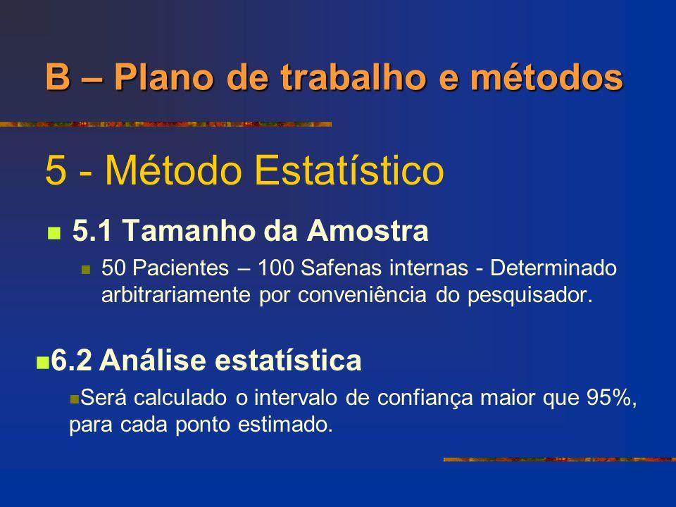 5 - Método Estatístico 5.1 Tamanho da Amostra 50 Pacientes – 100 Safenas internas - Determinado arbitrariamente por conveniência do pesquisador. B – P