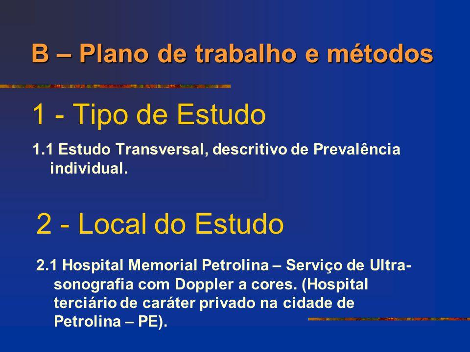 1 - Tipo de Estudo 1.1 Estudo Transversal, descritivo de Prevalência individual. 2 - Local do Estudo 2.1 Hospital Memorial Petrolina – Serviço de Ultr