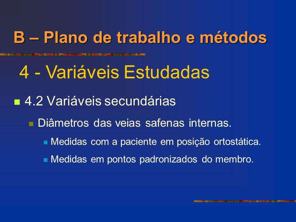 4.2 Variáveis secundárias Diâmetros das veias safenas internas. Medidas com a paciente em posição ortostática. Medidas em pontos padronizados do membr