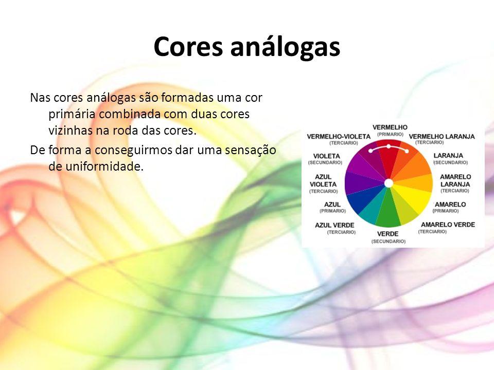 Cores análogas Nas cores análogas são formadas uma cor primária combinada com duas cores vizinhas na roda das cores. De forma a conseguirmos dar uma s