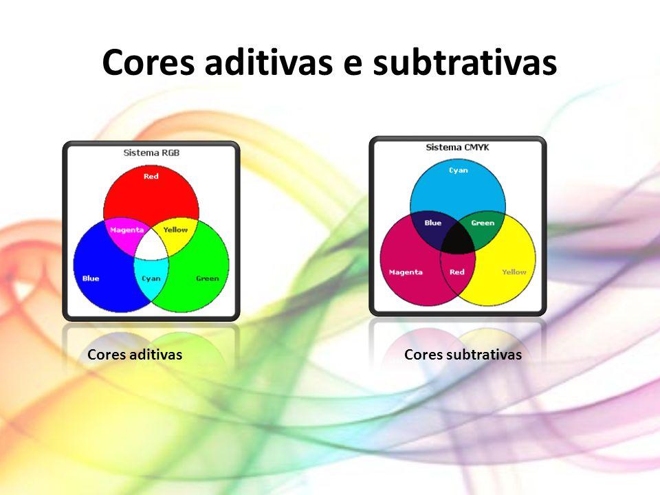 Cores aditivas Chama-se a esta mistura de aditiva, pois se juntarmos duas cores obtemos uma cor mais luminosa, em que, caso juntemos todas as cores obtemos o branco.