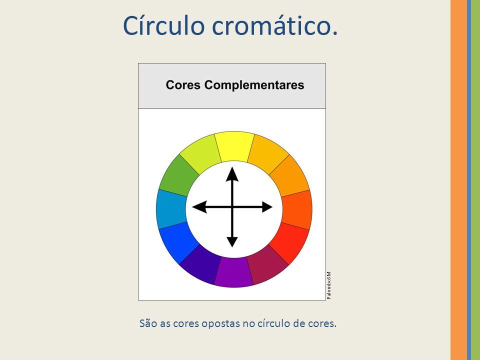 Círculo cromático. São as cores opostas no círculo de cores. PalomboSM