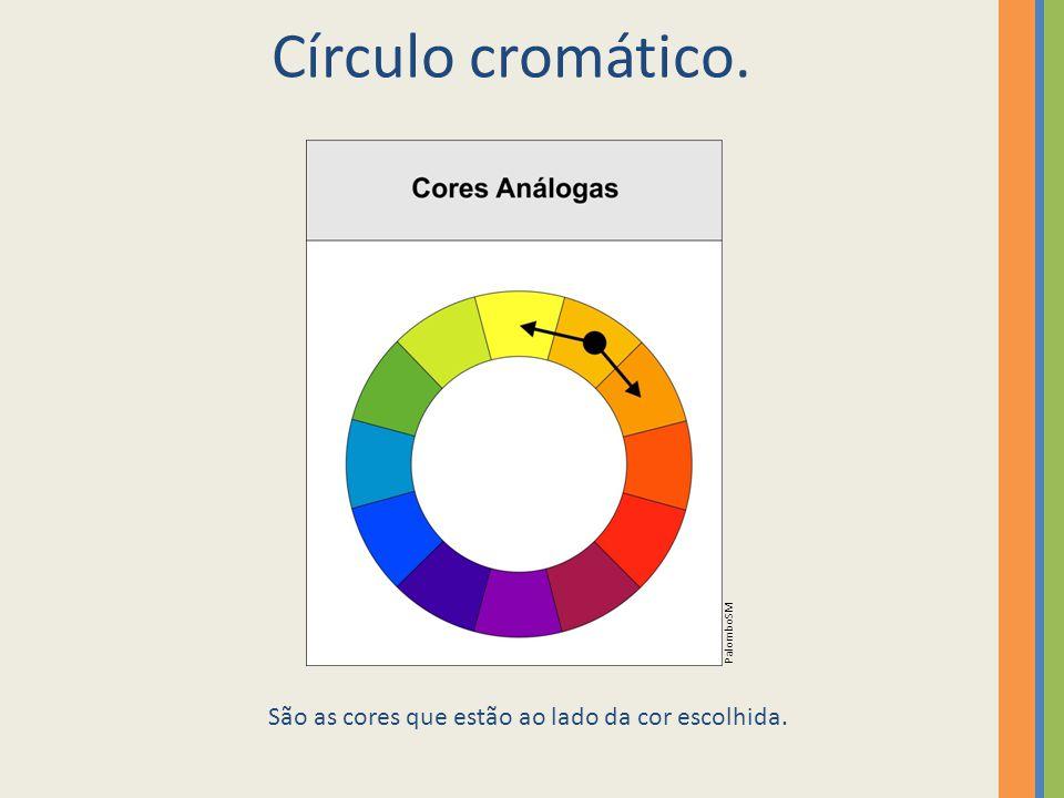 Círculo cromático. São as cores que estão ao lado da cor escolhida. PalomboSM