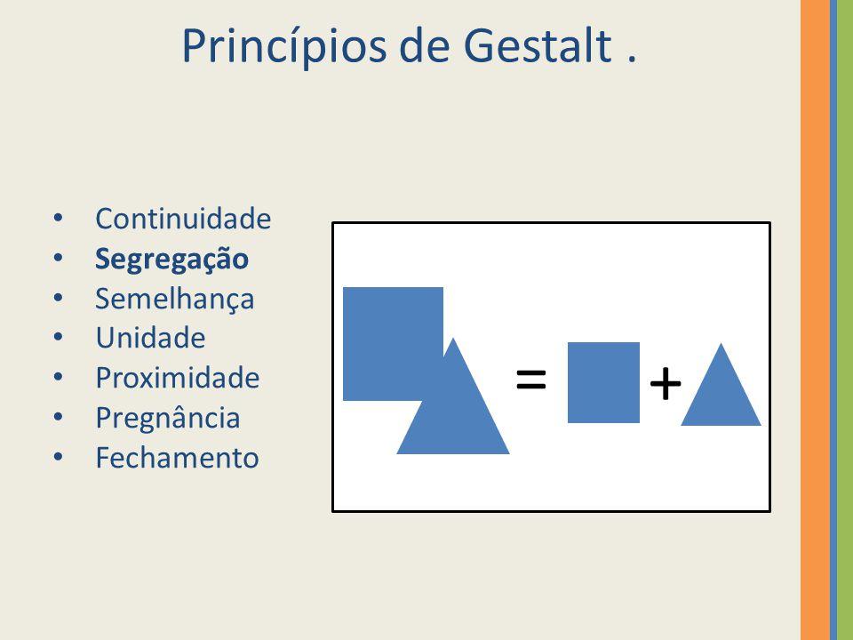 Princípios de Gestalt. Continuidade Segregação Semelhança Unidade Proximidade Pregnância Fechamento = +