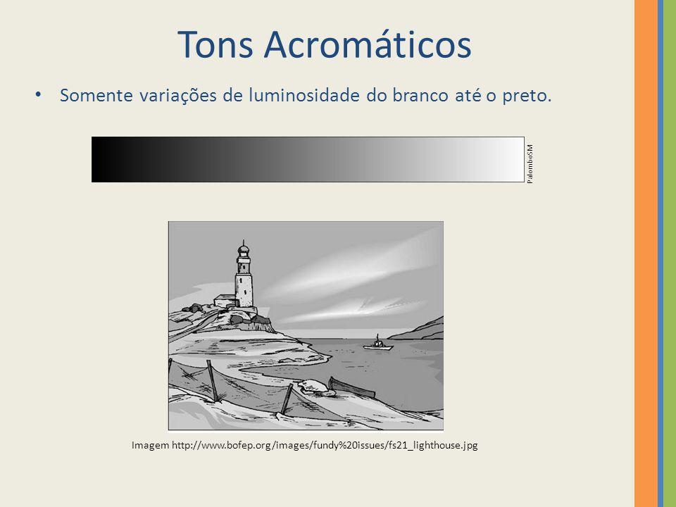 Tons Acromáticos Somente variações de luminosidade do branco até o preto. Imagem http://www.bofep.org/images/fundy%20issues/fs21_lighthouse.jpg Palomb