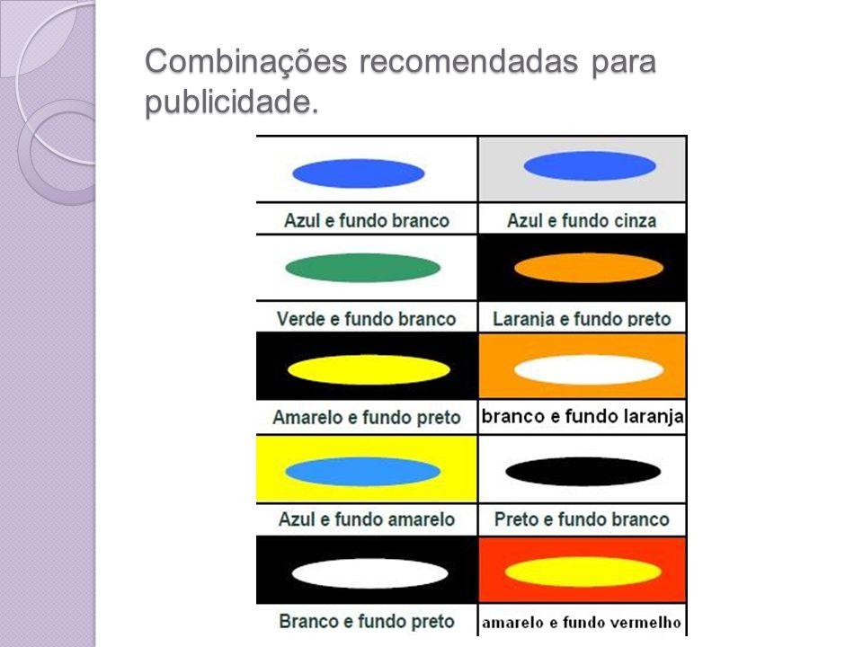 Combinações recomendadas para publicidade.