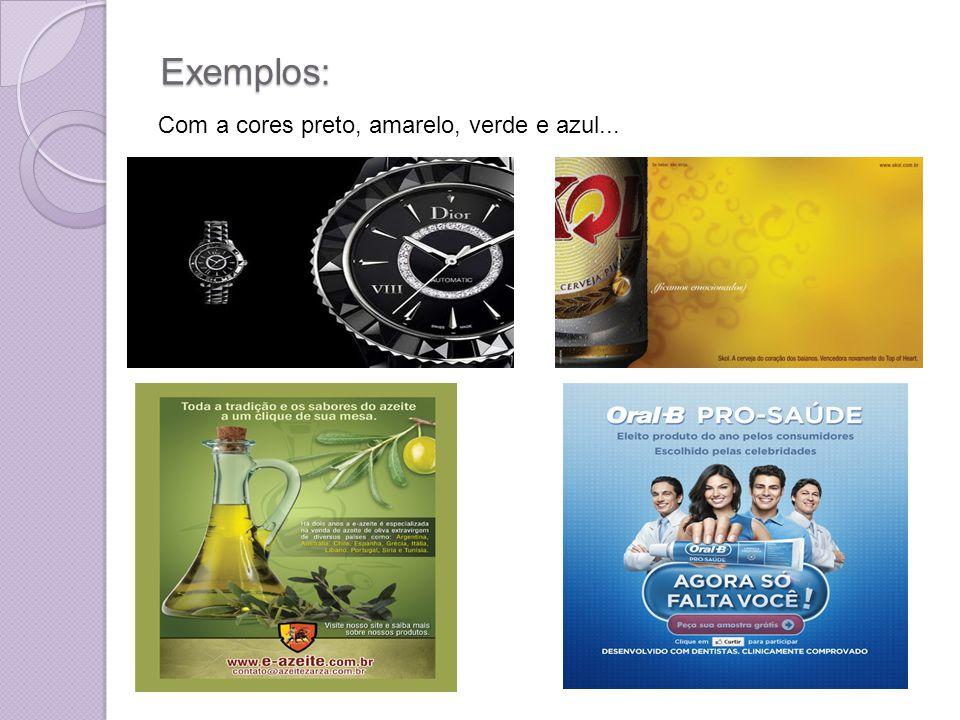 Exemplos: Com a cores preto, amarelo, verde e azul...