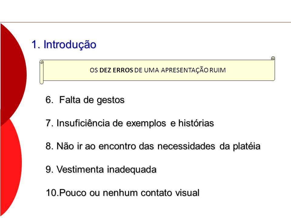 1. Introdução 6. Falta de gestos 7.Insuficiência de exemplos e histórias 8.Não ir ao encontro das necessidades da platéia 9.Vestimenta inadequada 10.P