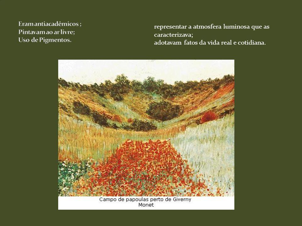 Claude MonetClaude Monet: São as pesquisas com a luz solar refletida nos seres humanos e na natureza.
