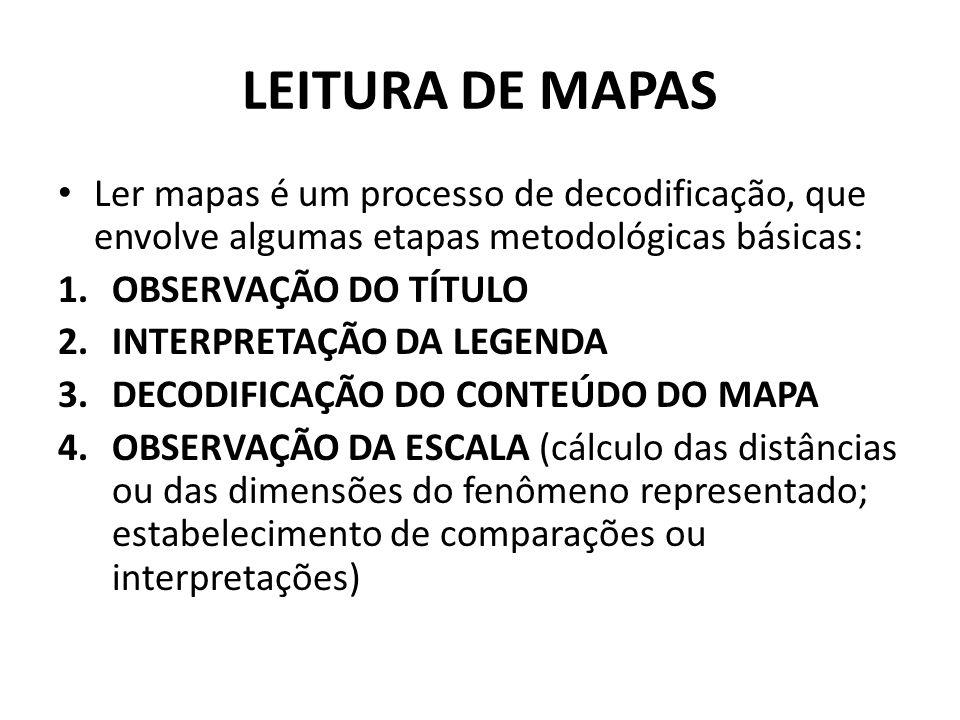 LEITURA DE MAPAS Ler mapas é um processo de decodificação, que envolve algumas etapas metodológicas básicas: 1.OBSERVAÇÃO DO TÍTULO 2.INTERPRETAÇÃO DA