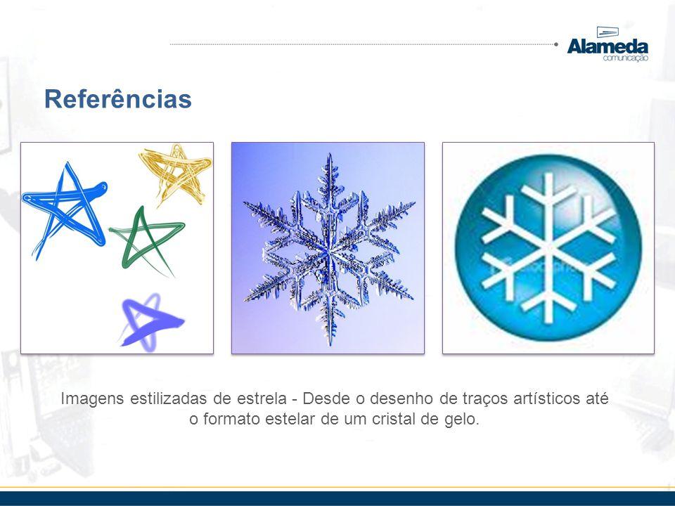 Referências Imagens estilizadas de estrela - Desde o desenho de traços artísticos até o formato estelar de um cristal de gelo.