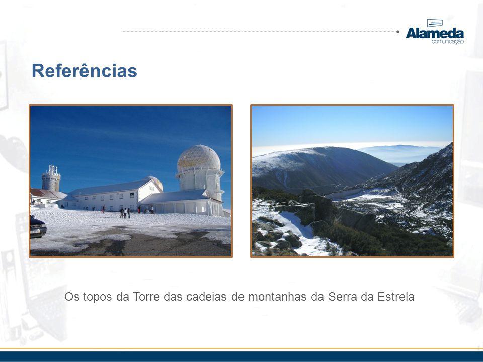 Referências Os topos da Torre das cadeias de montanhas da Serra da Estrela