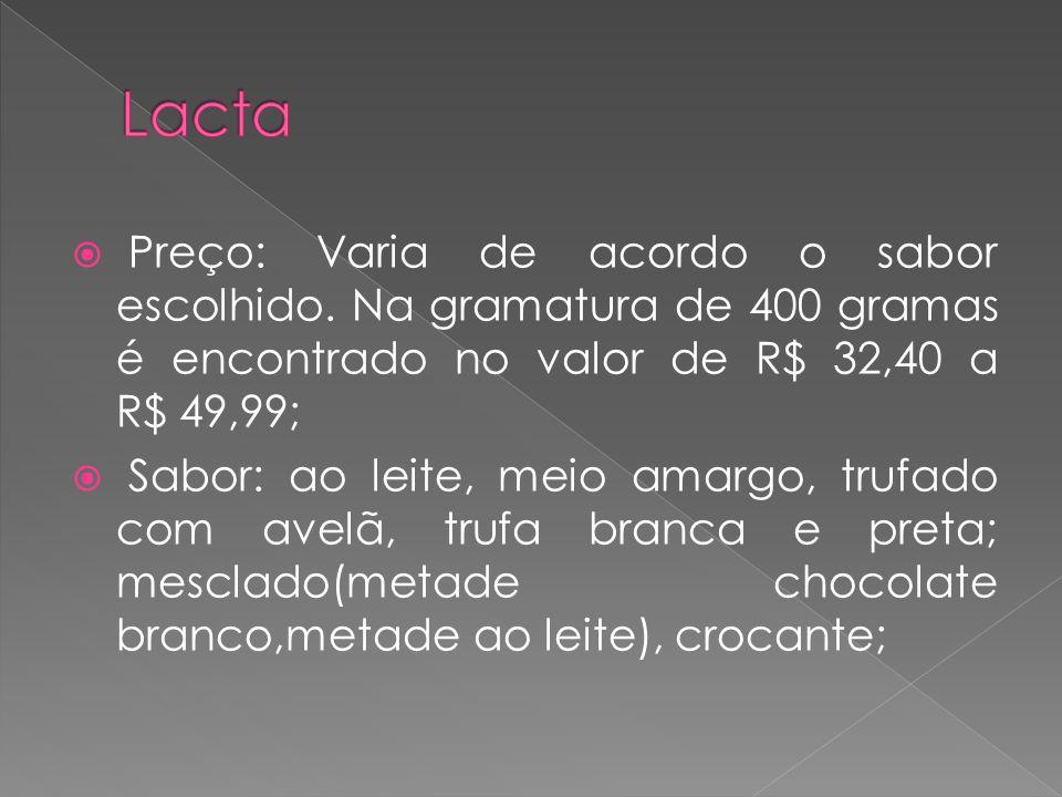  Preço: Varia de acordo o sabor escolhido. Na gramatura de 400 gramas é encontrado no valor de R$ 32,40 a R$ 49,99;  Sabor: ao leite, meio amargo, t
