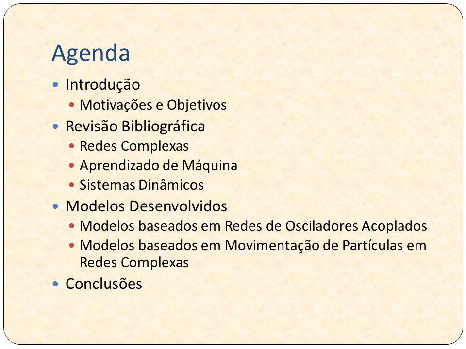 Agenda Introdução Motivações e Objetivos Revisão Bibliográfica Redes Complexas Aprendizado de Máquina Sistemas Dinâmicos Modelos Desenvolvidos Modelos baseados em Redes de Osciladores Acoplados Modelos baseados em Movimentação de Partículas em Redes Complexas Conclusões