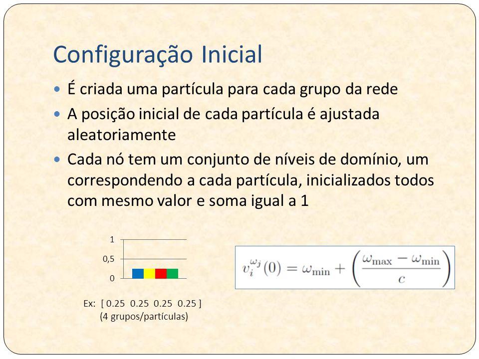 Configuração Inicial É criada uma partícula para cada grupo da rede A posição inicial de cada partícula é ajustada aleatoriamente Cada nó tem um conjunto de níveis de domínio, um correspondendo a cada partícula, inicializados todos com mesmo valor e soma igual a 1 Ex: [ 0.25 0.25 0.25 0.25 ] (4 grupos/partículas)