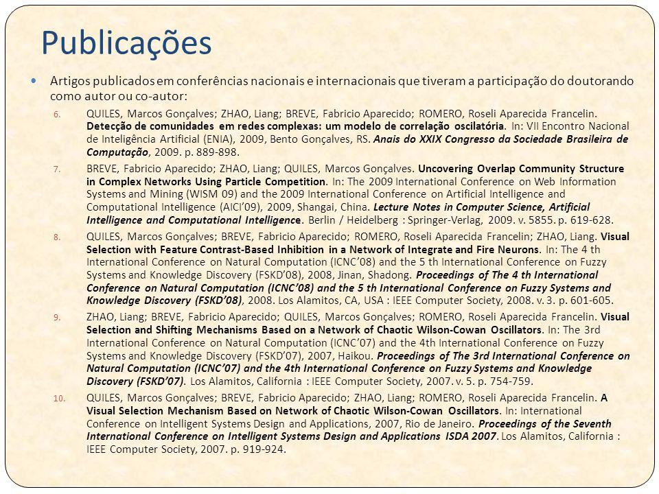 Publicações Artigos publicados em conferências nacionais e internacionais que tiveram a participação do doutorando como autor ou co-autor: 6.