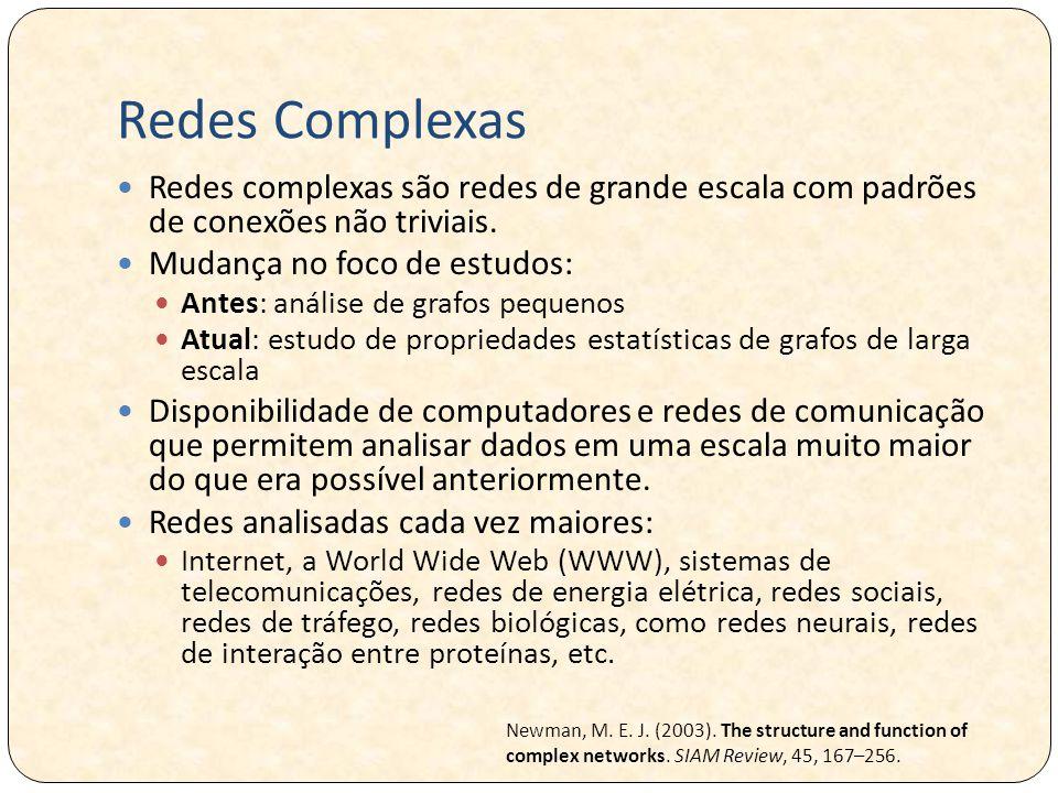 Redes Complexas Redes complexas são redes de grande escala com padrões de conexões não triviais.