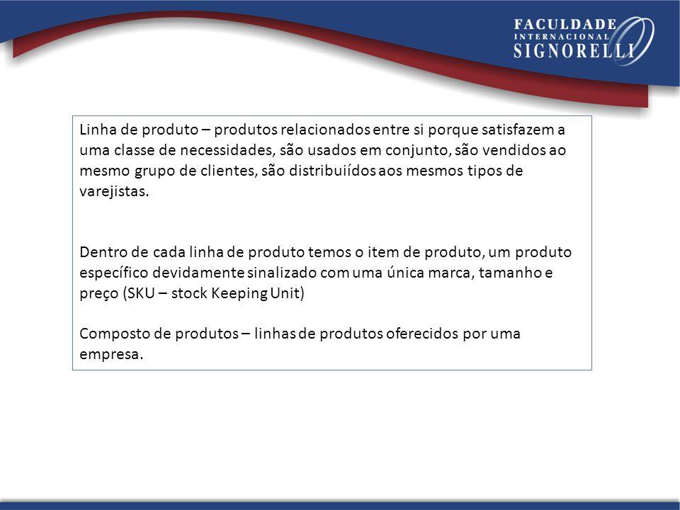 Linha de produto – produtos relacionados entre si porque satisfazem a uma classe de necessidades, são usados em conjunto, são vendidos ao mesmo grupo