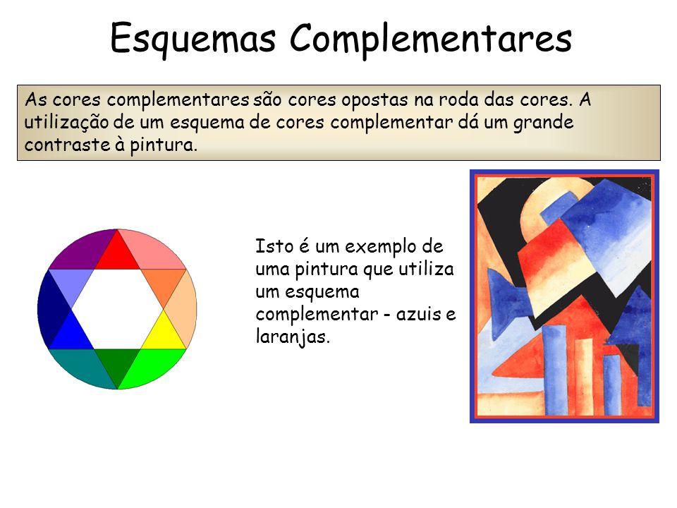 Isto é um exemplo de uma pintura que utiliza um esquema complementar - azuis e laranjas. As cores complementares são cores opostas na roda das cores.