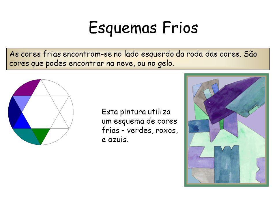 Esta pintura utiliza um esquema de cores frias - verdes, roxos, e azuis. As cores frias encontram-se no lado esquerdo da roda das cores. São cores que