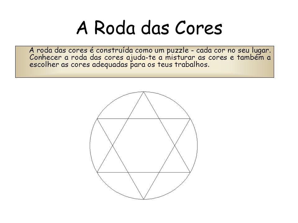 A Roda das Cores A roda das cores é construída como um puzzle - cada cor no seu lugar. Conhecer a roda das cores ajuda-te a misturar as cores e também