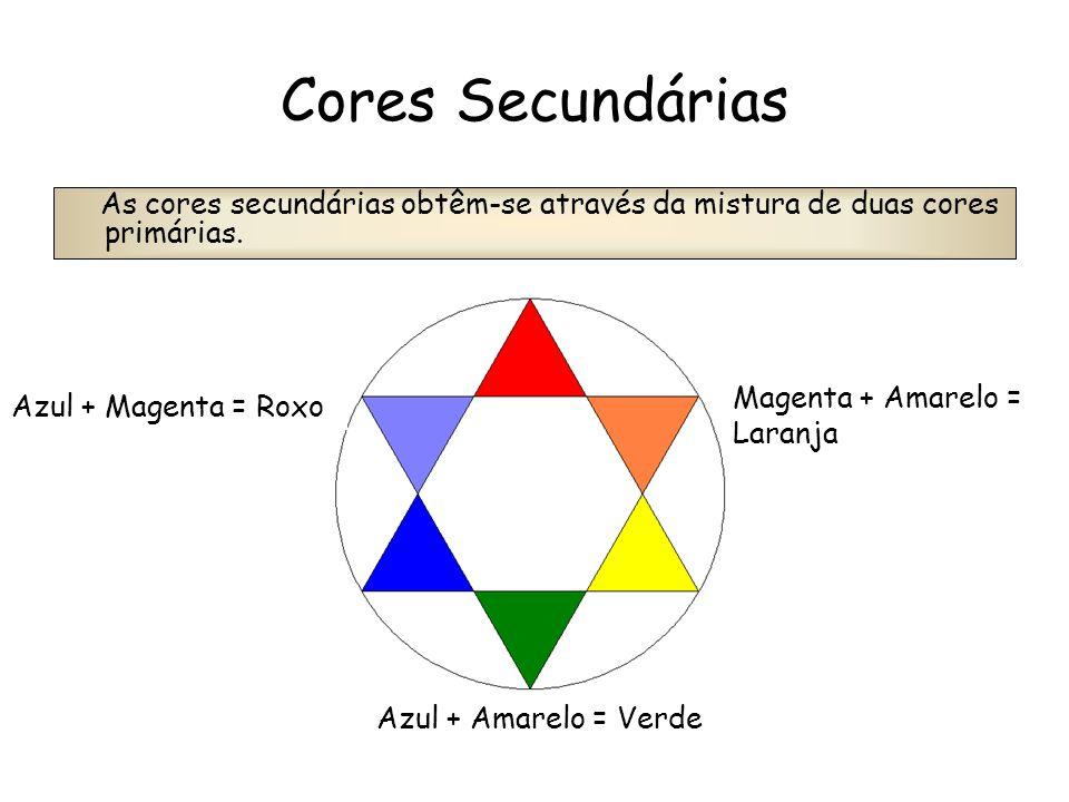 Cores Secundárias As cores secundárias obtêm-se através da mistura de duas cores primárias. Azul + Magenta = Roxo Azul + Amarelo = Verde Magenta + Ama