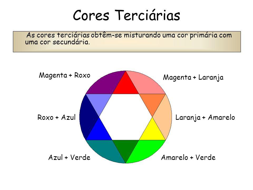 Cores Terciárias As cores terciárias obtêm-se misturando uma cor primária com uma cor secundária. Magenta + Roxo Roxo + Azul Azul + Verde Magenta + La