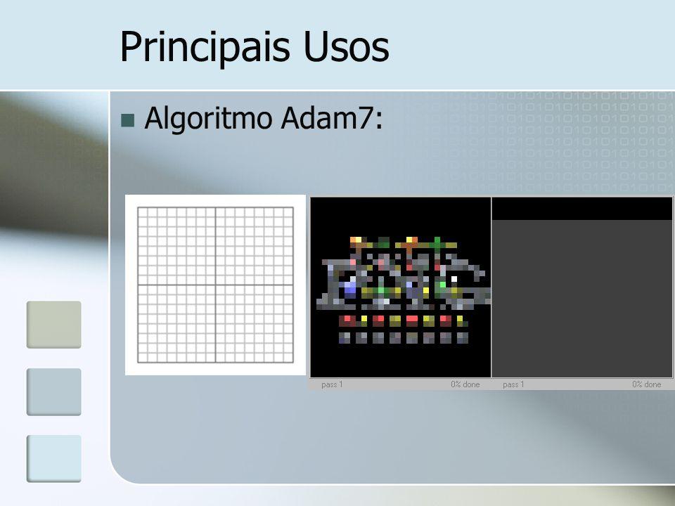 Principais Usos Algoritmo Adam7: