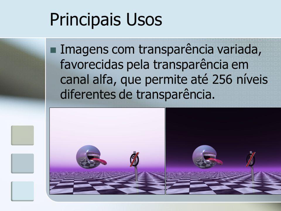 Principais Usos Imagens com transparência variada, favorecidas pela transparência em canal alfa, que permite até 256 níveis diferentes de transparência.