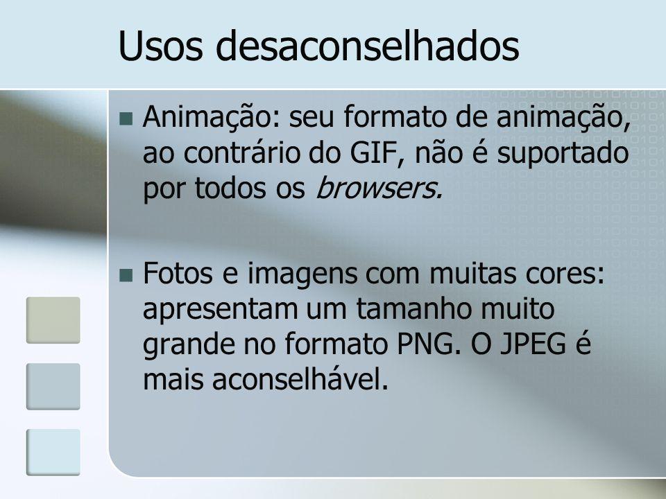 Usos desaconselhados Animação: seu formato de animação, ao contrário do GIF, não é suportado por todos os browsers. Fotos e imagens com muitas cores:
