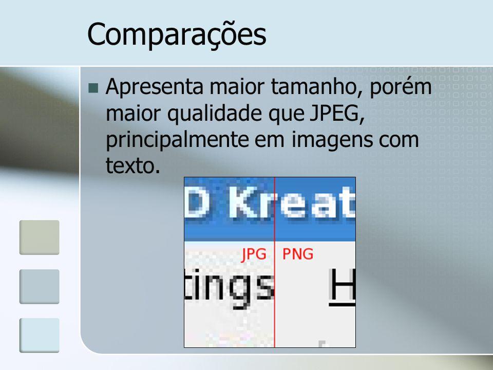 Comparações Apresenta maior tamanho, porém maior qualidade que JPEG, principalmente em imagens com texto.