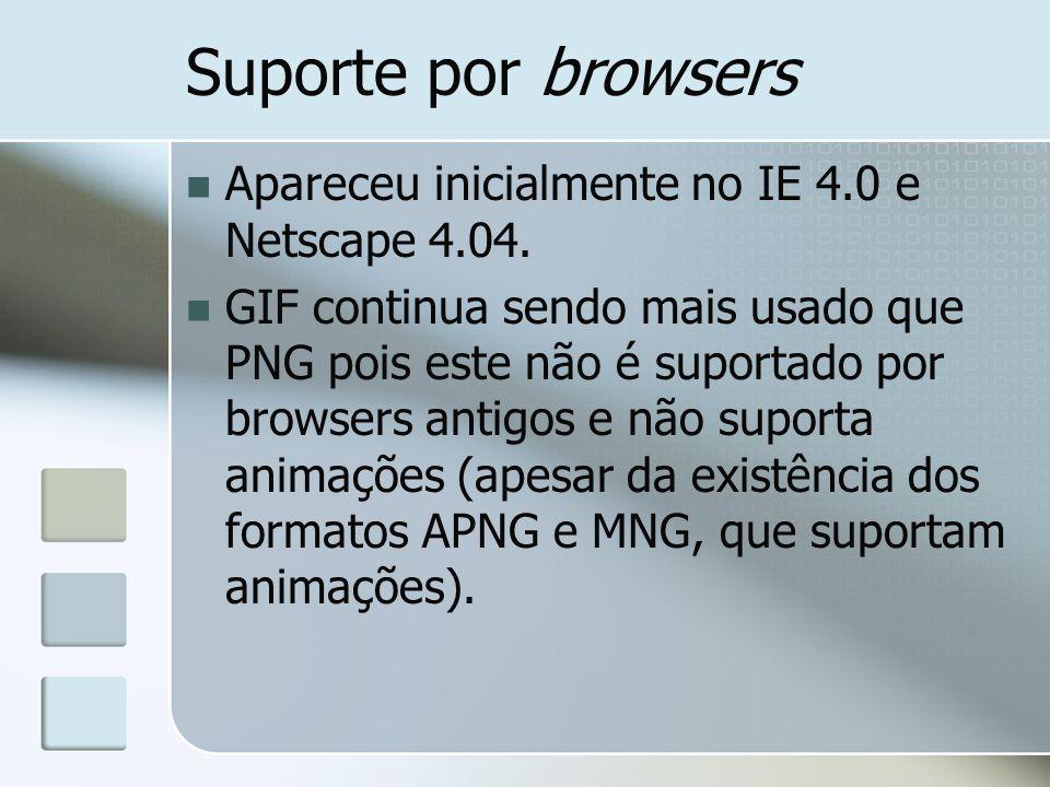 Suporte por browsers Apareceu inicialmente no IE 4.0 e Netscape 4.04. GIF continua sendo mais usado que PNG pois este não é suportado por browsers ant