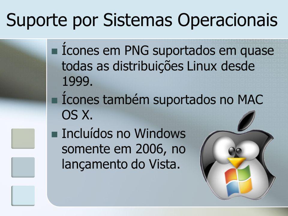 Ícones em PNG suportados em quase todas as distribuições Linux desde 1999. Ícones também suportados no MAC OS X. Incluídos no Windows somente em 2006,