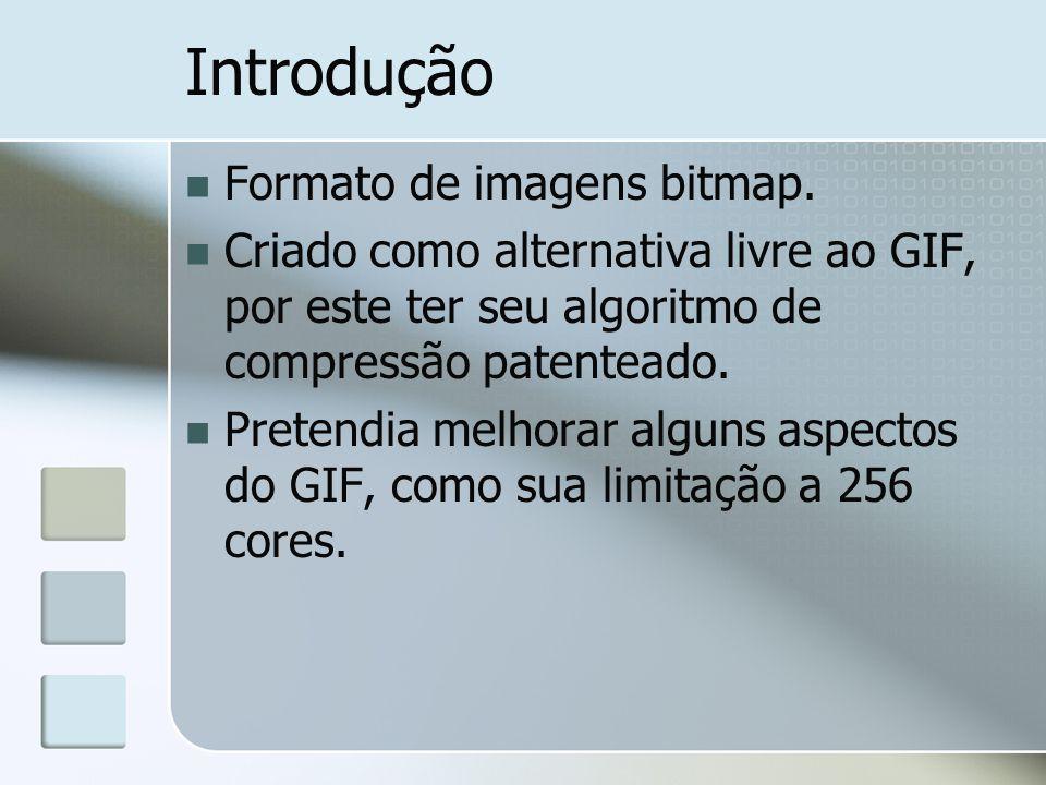 Introdução Formato de imagens bitmap. Criado como alternativa livre ao GIF, por este ter seu algoritmo de compressão patenteado. Pretendia melhorar al