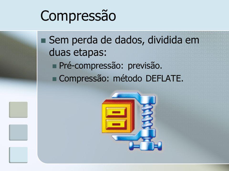 Compressão Sem perda de dados, dividida em duas etapas: Pré-compressão: previsão. Compressão: método DEFLATE.