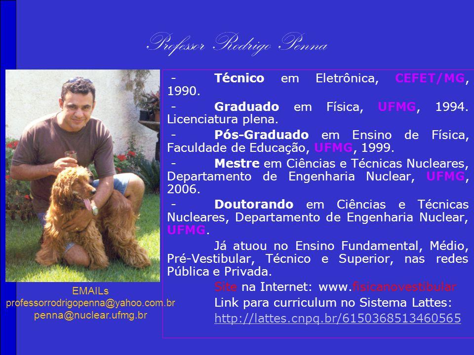 Professor Rodrigo Penna -Técnico em Eletrônica, CEFET/MG, 1990.