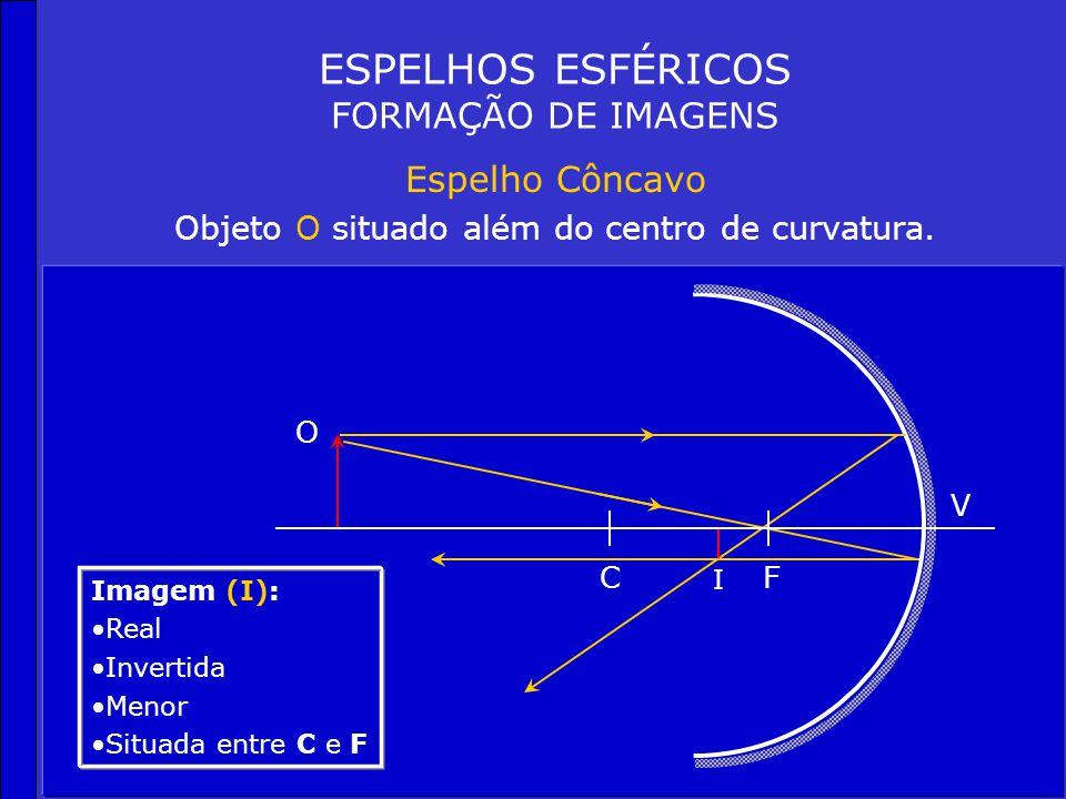ESPELHOS ESFÉRICOS FORMAÇÃO DE IMAGENS Espelho Côncavo Objeto O no infinito CF V Imagem (I): Real Um ponto no foco (F) I