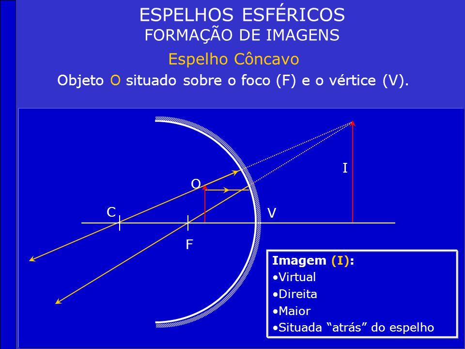 C F V O ESPELHOS ESFÉRICOS FORMAÇÃO DE IMAGENS Espelho Côncavo Objeto O situado sobre o foco (F). Imagem (I): Não há formação ou imagem imprópria