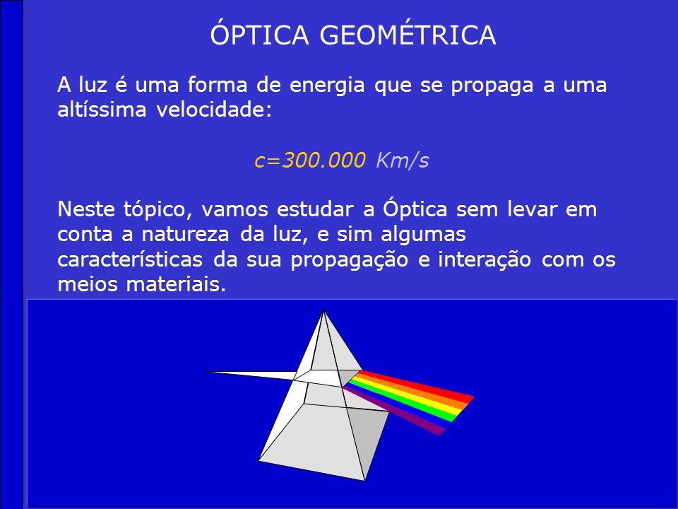 ÓPTICA GEOMÉTRICA Neste tópico, vamos estudar a Óptica sem levar em conta a natureza da luz, e sim algumas características da sua propagação e interação com os meios materiais.