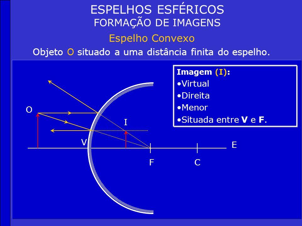 ESPELHOS ESFÉRICOS FORMAÇÃO DE IMAGENS Espelho Convexo Objeto O situado no infinito. CF V E Imagem (I): Virtual Um ponto situado no foco (F) I
