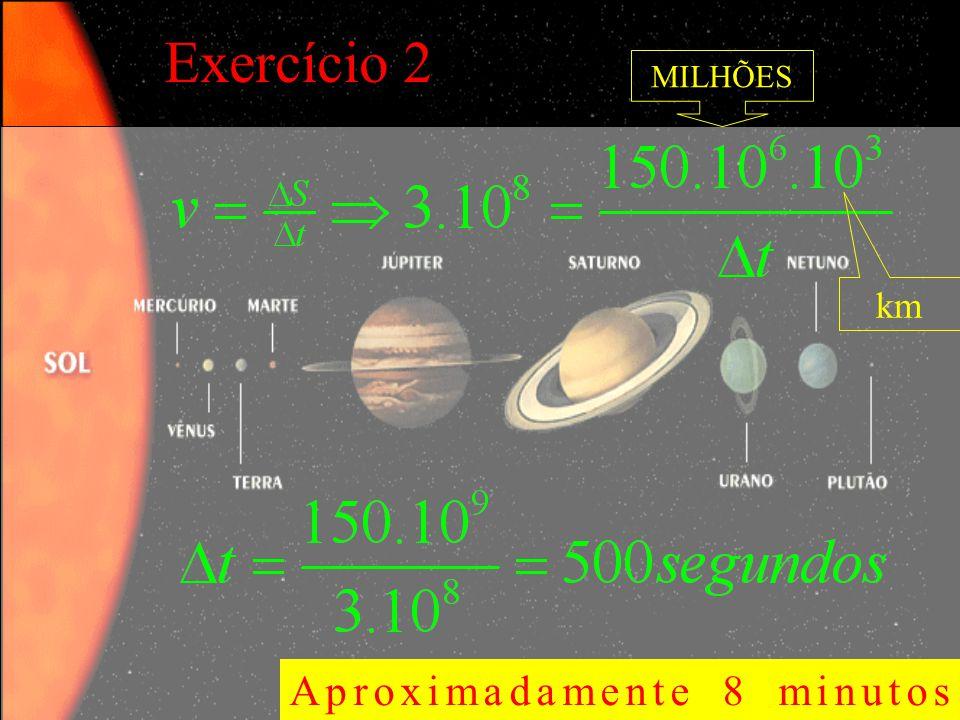 Exercício 2 Aproximadamente 8 minutos MILHÕES km