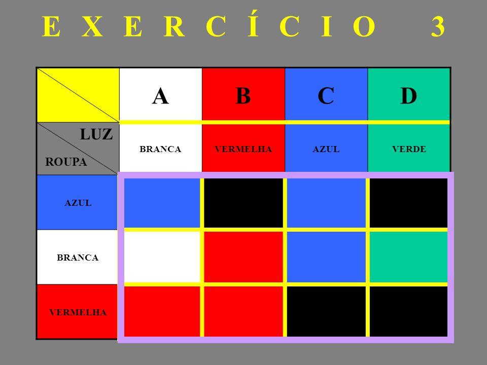 EXERCÍCIO 3 ABCD BRANCAVERMELHAAZULVERDE AZUL BRANCA VERMELHA LUZ ROUPA