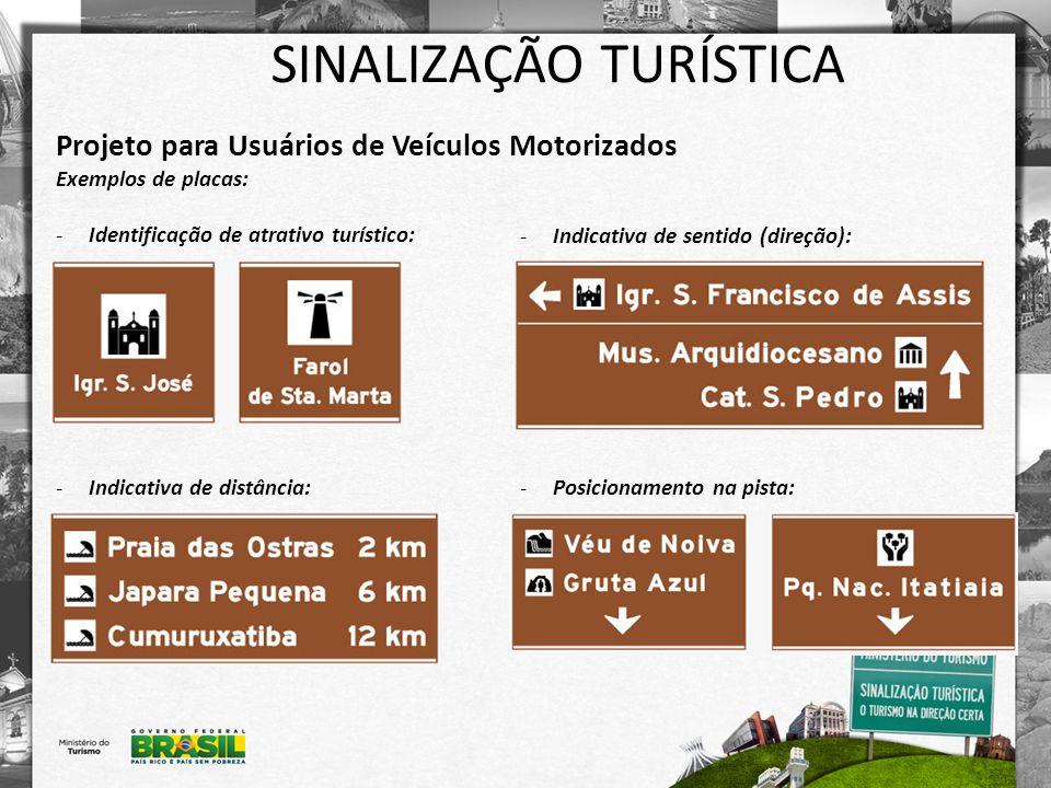 SINALIZAÇÃO TURÍSTICA Projeto para Usuários de Veículos Motorizados Exemplos de placas: -Identificação de atrativo turístico: -Indicativa de distância