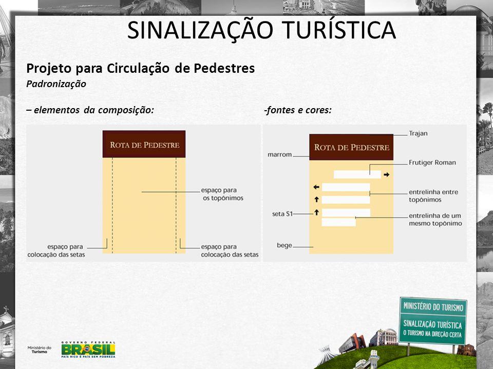 SINALIZAÇÃO TURÍSTICA Projeto para Circulação de Pedestres Padronização – elementos da composição: -fontes e cores:
