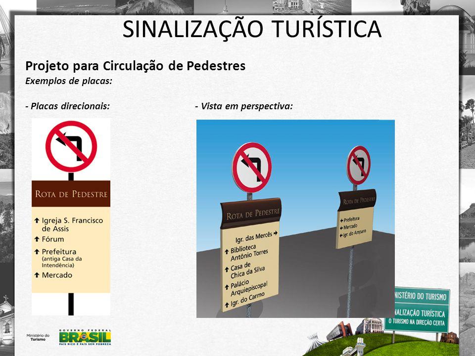 SINALIZAÇÃO TURÍSTICA Projeto para Circulação de Pedestres Exemplos de placas: - Placas direcionais: - Vista em perspectiva: