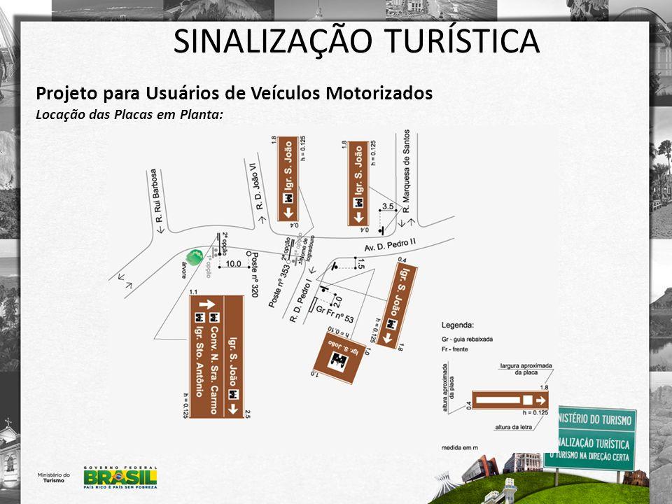 SINALIZAÇÃO TURÍSTICA Projeto para Usuários de Veículos Motorizados Locação das Placas em Planta:
