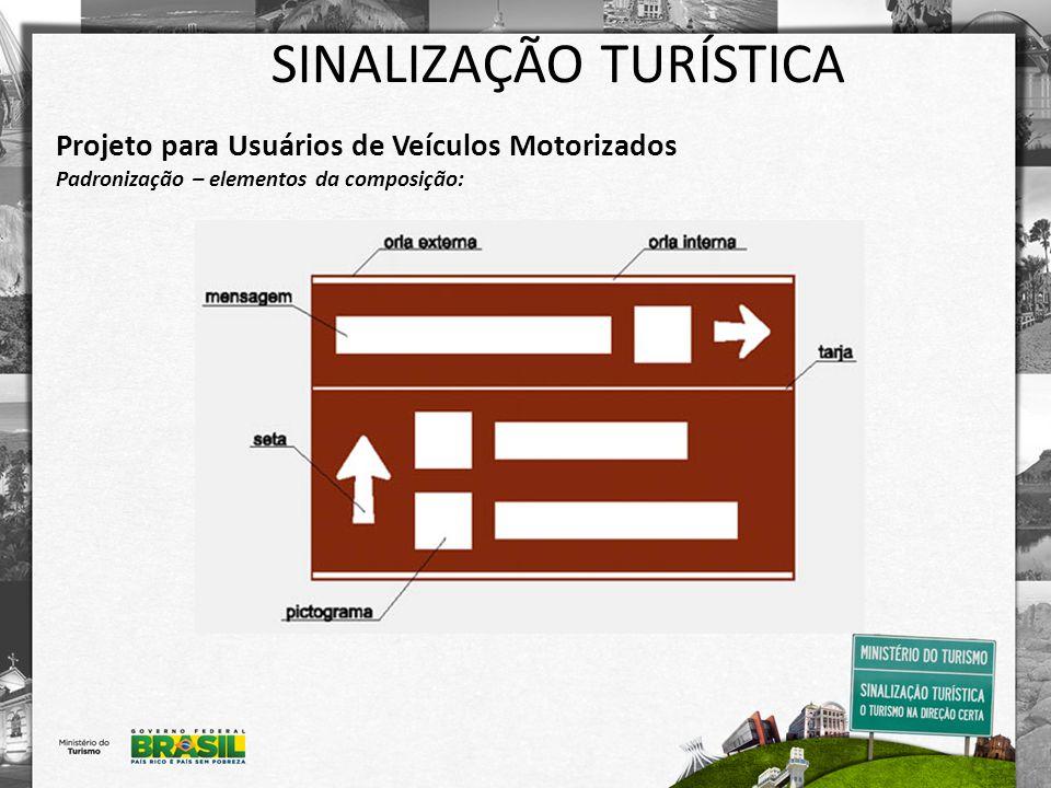 SINALIZAÇÃO TURÍSTICA Projeto para Usuários de Veículos Motorizados Padronização – elementos da composição: